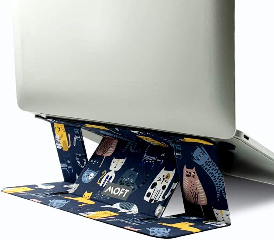 """MOFT Invisible Slim Laptop Stand, Adhesive and Reusable, Adjustable Perfect Viewing Angles, Compatible with Laptops Up to 15.6"""", Patented, Many Cats"""