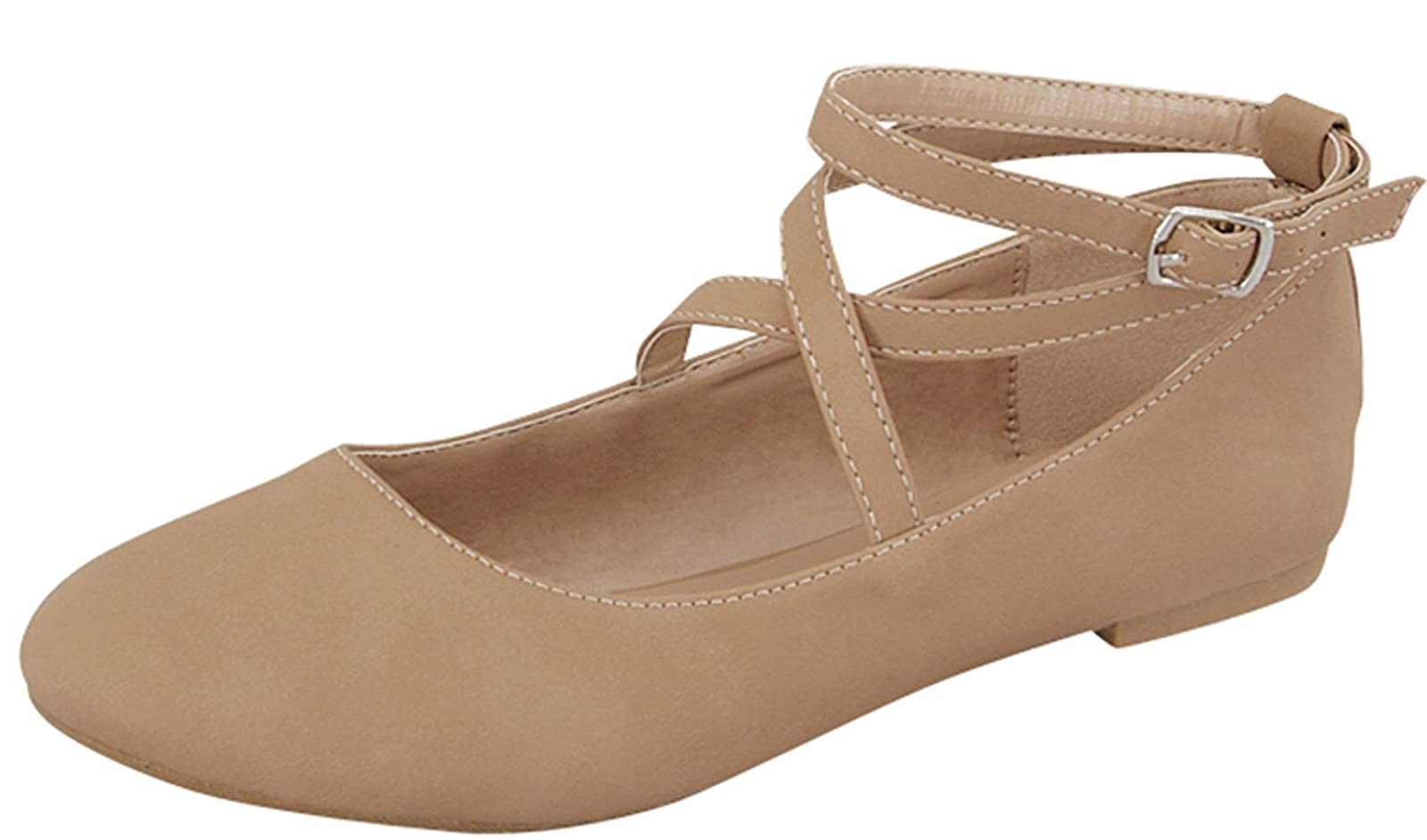 9992cc3c2a16 HQ Images of Top Moda Women s Brea-3 Strappy Ballet Flat
