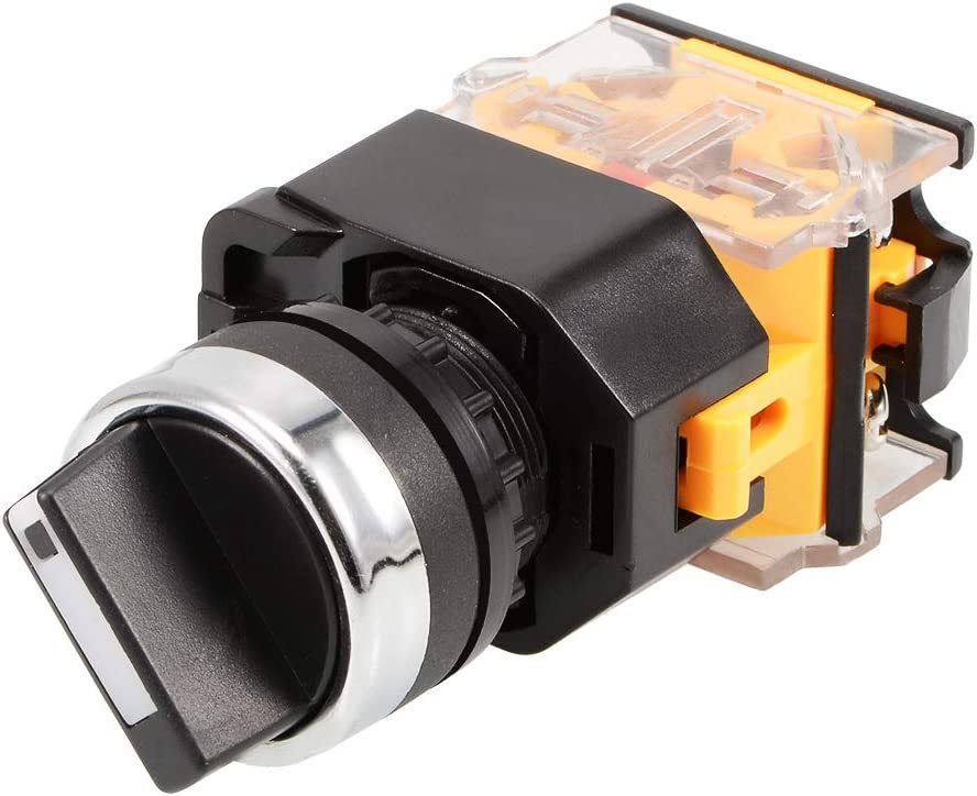 uxcell Latching Lock 2 Positions Rotary Selector Select Switch DPST 440V 10A 22mm Mounting Hole Dia