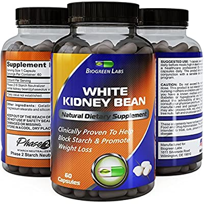 100% Pure White Kidney Bean Extract - Phase 2 Starch Neutralizer - Exceptional Antioxidant - Natural Carbohydrate Blocker and Effective Appetite Suppressant - Supports Safe Weight Loss and Controls Blood Sugar - Quality Tested and Guaranteed by Biogreen L