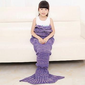 WLM - Manta de punto, diseño de la Sirenita, se puede lavar a máquina, diseño de sirena, de punto, saco de dormir, para niños: Amazon.es: Hogar