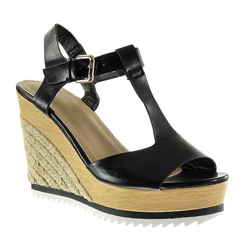 4b54075a402 Angkorly - Zapatillas Moda Sandalias Alpargatas Plataforma Correa Peep-Toe  Mujer Cuerda Brillantes Madera Talón Plataforma 11 CM: Amazon.es: Zapatos y  ...