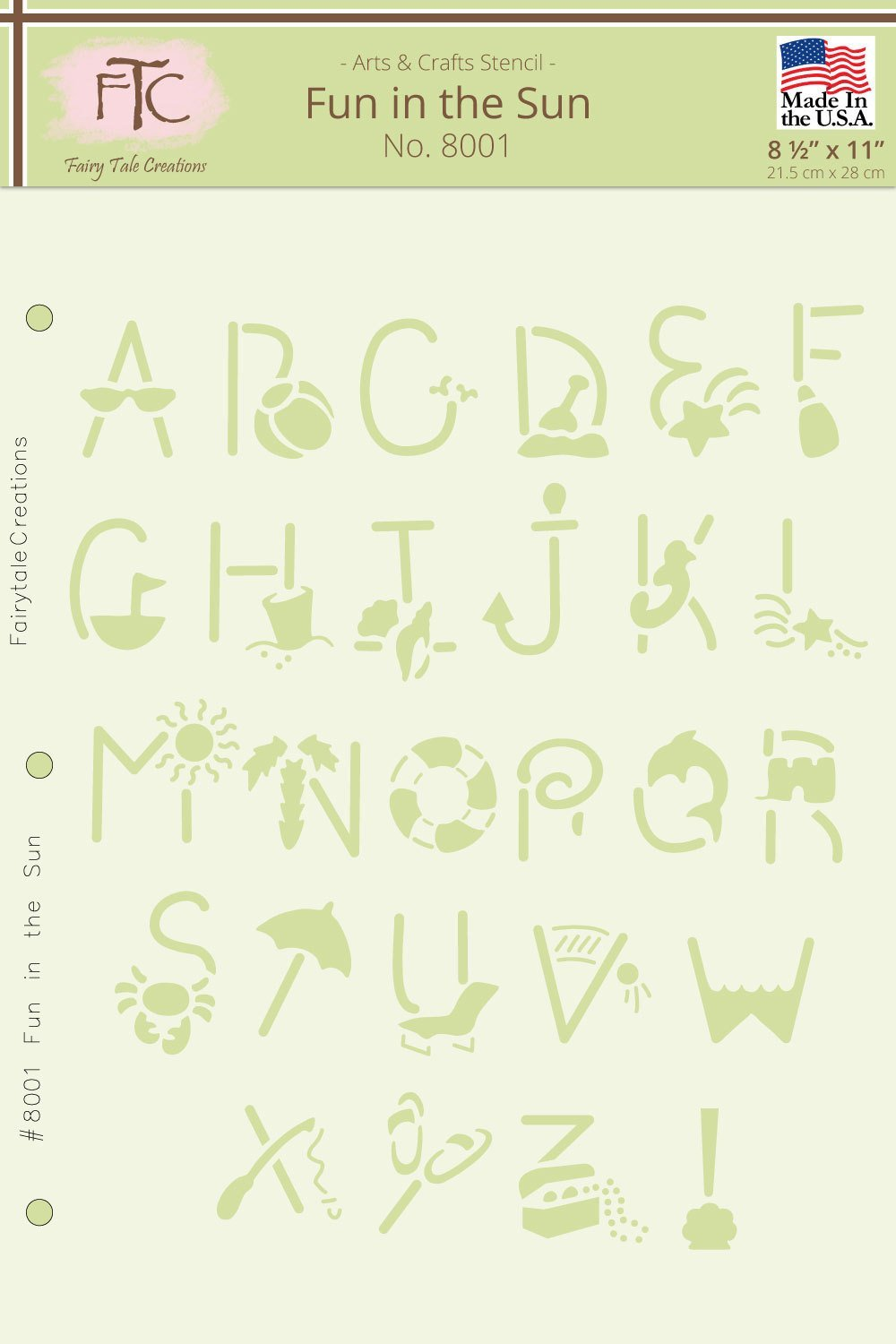 Fairytale Creations Fun in the Sun Alphabet Stencil, 8.5 L x 11 H 8.5 L x 11 H 8001