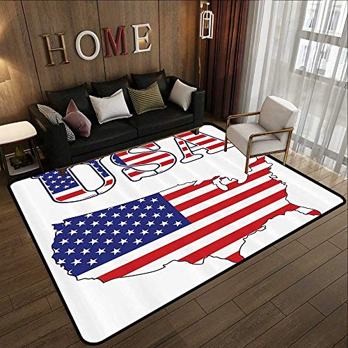 (Durable Rubber Floor Mat,Americana Decor Collection,USA Map Flag Stars Stripes Washington National Symbol History American Style,Cobalt Red White 59