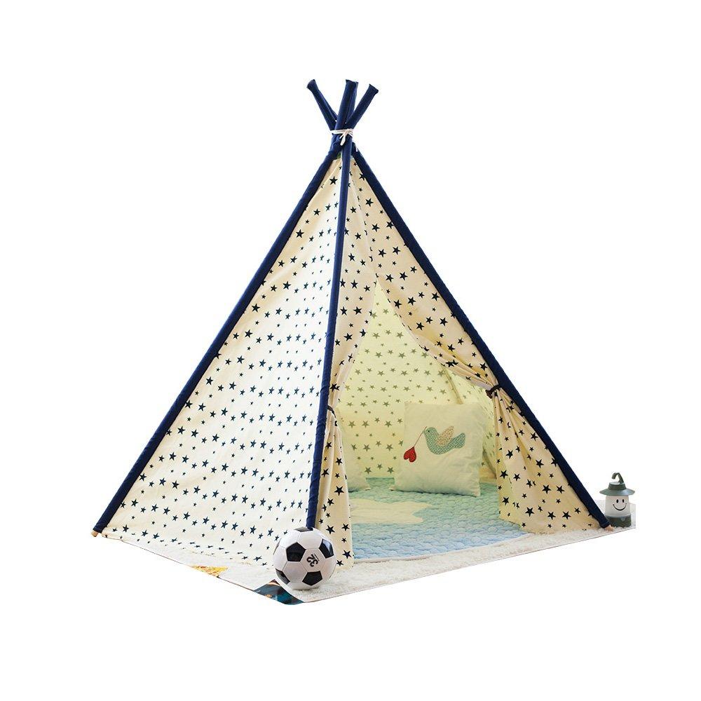 Virtper US 子供用 ゲームテント 5角星 黄色 波形模様 インディアンテント 5角テント 屋内 屋外 庭 テント (おもちゃとオーナメントは含まれません) 963858 B07L49T6HX #a