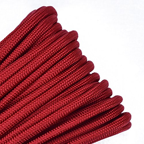 3 Red 10 Bracelet - BoredParacord - 1', 10', 25', 50', 100' Hanks & 250', 1000' Spools of Parachute 550 Cord Type III 7 Strand Paracord WELL Over 300 Colors - Imperial Red - 10 Feet