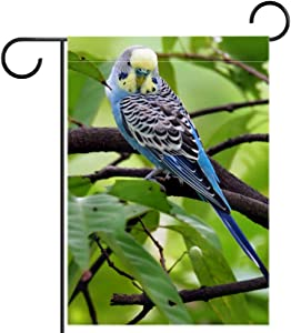 NOAON 12x18 Inch Creative Garden Flag Bird Parakeet Small Blue Cute Outdoor Without Stand Double Sided Outdoor Decoration Yard