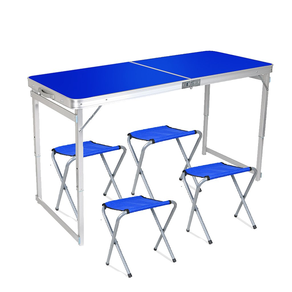 IFOYO Picnic Table Set, Portable Folding Picnic Table for Outdoor Camping with umbrella hole and 4 Folding Chairs, Adjustable Height, Blue
