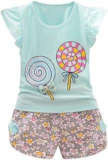 Yezelend Abbigliamento Bambino Estate Abiti Cerimonia Bambino Vestiti Completino Bambino Ragazza Lollipop T-Shirt Tritata Fiore Pantaloncini Set