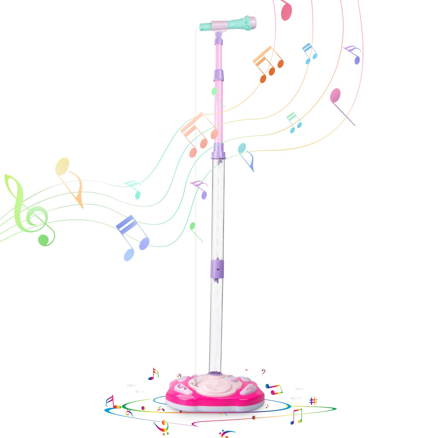 SAOCOOL Kids Microphone, Rechargeable Kids Karaoke Machine, Toddler Microphone Music Toy Set with Colored Lights Flashing & Adjustable Stand for Children Over 3 Years Old by SAOCOOL (Image #7)