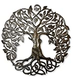 Family Roots Tree of Life, Large Outdoor Wall Art, Recycled Metal Haiti, 33'' X 33''