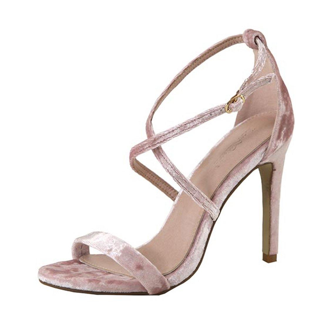 cfde42e9eb8 Amazon.com: Dusty Pink Velvet Open Toe Strappy High Heel Pump Dress ...