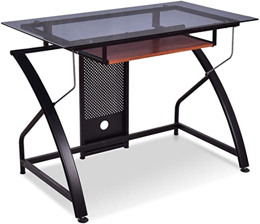 Amazon Com Modern Tempered Glass Top Study Desk With Sliding
