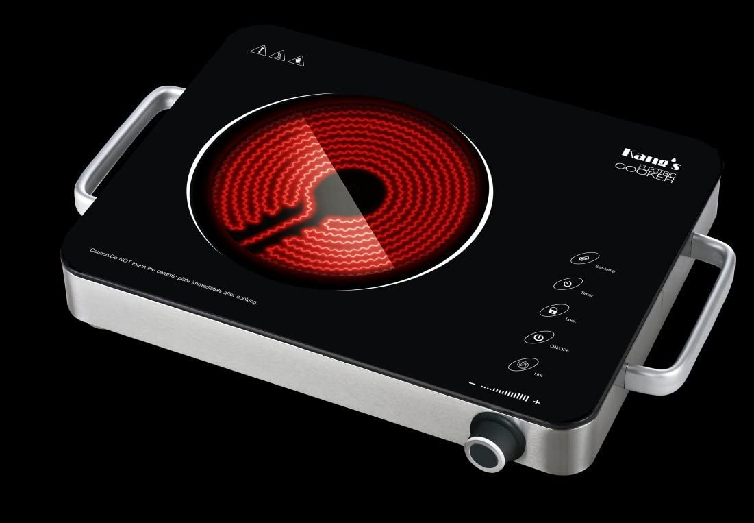 Kang's MD-1818 Portable Induction Cooktop, High End Full Glass Induction Burner with Sensor Touch, Countertop Burner with Stainless Steel Housing, Electric Cooker (1350W)