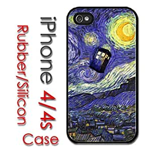iPhone 4 4S Rubber Silicone Case - Tardis Dr Who Phone Call Box Starry Night