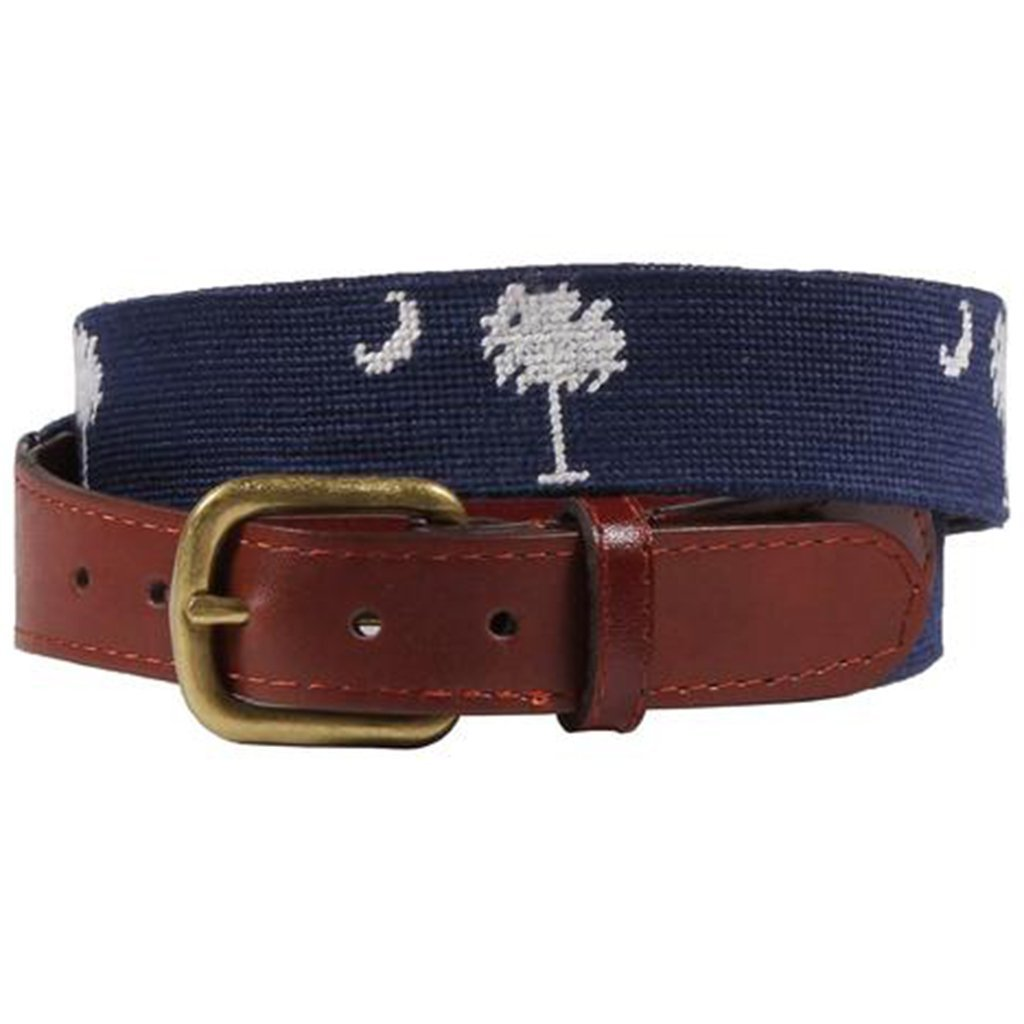 South Carolina Needlepoint Belt in Navy by Smathers & Branson