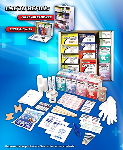 Rapid Care First Aid 93645 3 Shelf First Aid Station Refill Kit For Over 75 People (643 Piece) (Care Rapid)