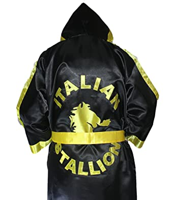 c8f2b1175a Rocky Balboa Black and Gold Boxing Robe One Size Fits All  Amazon.co.uk   Clothing