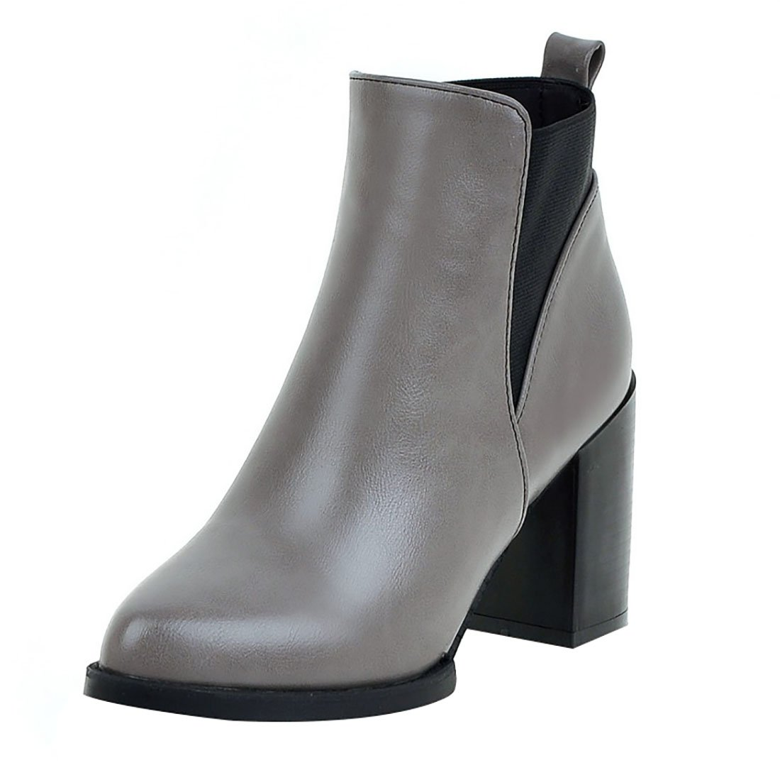 UH Damen Blockabsatz Chelsea Boots Chunky High Heels Stiefeletten mit Spitze Herbsr Winter Schuhe  34 EU Grau
