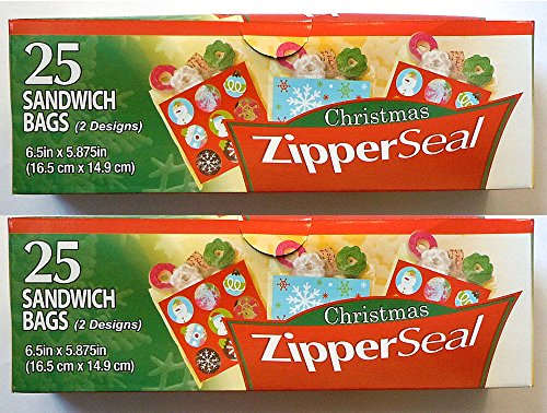 50ct Christmas Zipper Seal Sandwich Holiday Treat Bags