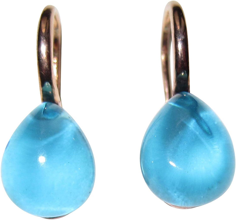 Pendientes colgantes de color turquesa con piedras de cabujón de color azul claro, de plata de ley chapada en oro rojo de 18 quilates, fabricados en Italia.