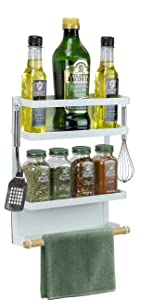 Sorbus Magnet Spice Rack Organizer for Refrigerator, Magnetic Storage Shelf with Paper Towel Holders and 5 Hooks, Multi-purpose (Medium, White)