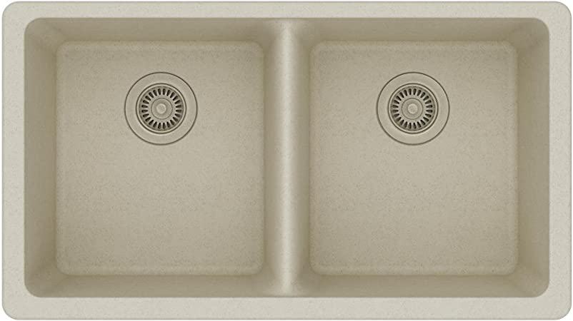 Elkay Quartz Classic Elgu3322bq0 Equal Double Bowl Undermount Sink Bisque