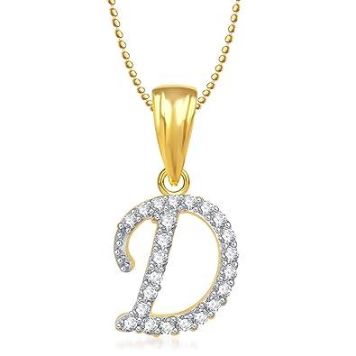 57ec70227c04a Buy MEENAZ 'D' Letter Crystal Brass Gold Plated Copper Alphabet ...