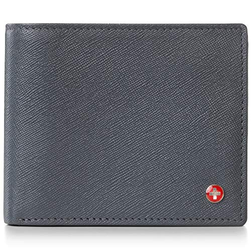 Alpine Swiss RFID Mens Leather Wallet Deluxe Capacity Coin Pocket Bifold With Divided Bill Section Crosshatch Gray