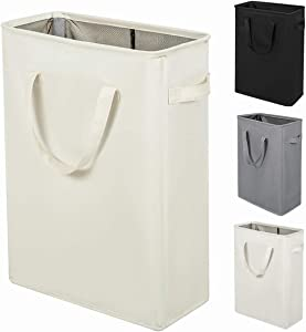 ZERO JET LAG 45L Slim Laundry Hamper with Handles Thin Laundry Bin Collapsible Dirty Clothes Basket Narrow Laundry Bag Foldable Dirty Hamper(21 inches,Beige)