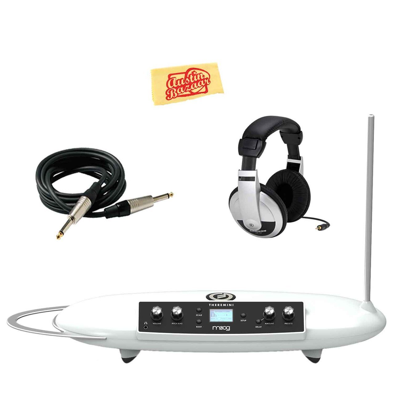 Moog Theremini Bundle with Headphones, Instrument Cable, and Austin Bazaar Polishing Cloth by Moog