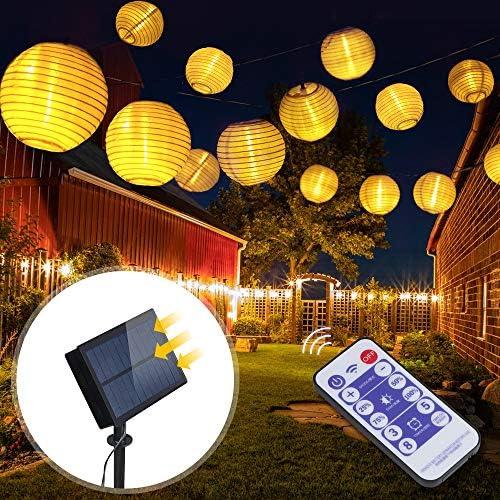 Innoo Tech 6m 30er LEDs Solar warmweiß Lampion Lichterkette mit 12 Tasten Fernbedienung, 8 Modi und 2m Zuleitungskabel