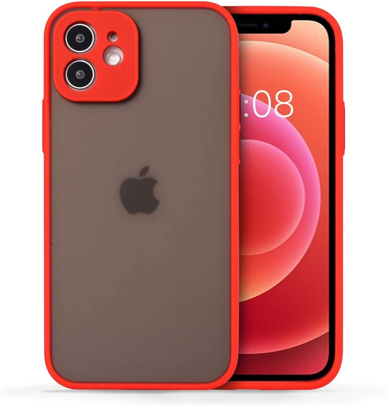 Wkae Colorful Soft TPU Bumper Semi-Transparent cleint Barton Sensation Sand Protection Mobile Phone for iPhone (Color : Red, Size : iPhone 11)