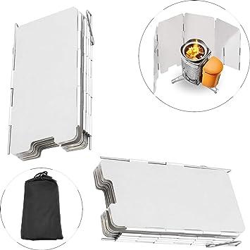 Haol 2 Unids Plegable Mini 9 Placas Cocina Estufa De Gas Parrilla Escudo De Viento Picnic Al Aire Libre: Amazon.es: Deportes y aire libre