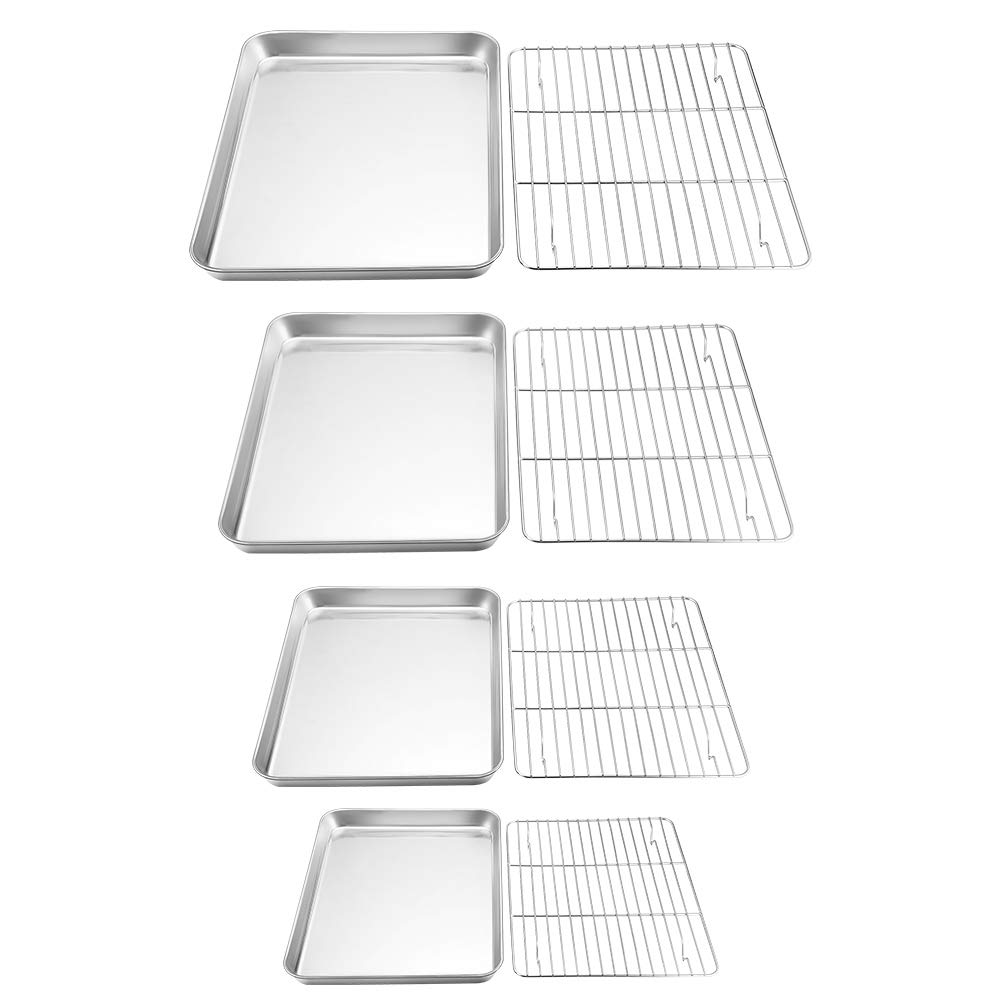 TeamFar Baking Sheet with Rack Set of 8, Cookie Sheet Baking Pans Stainless Steel Bakeware with Cooling Rack Set, Non Toxic & Healthy, Mirror Finish & Rust Free, Easy Clean & Dishwasher Safe