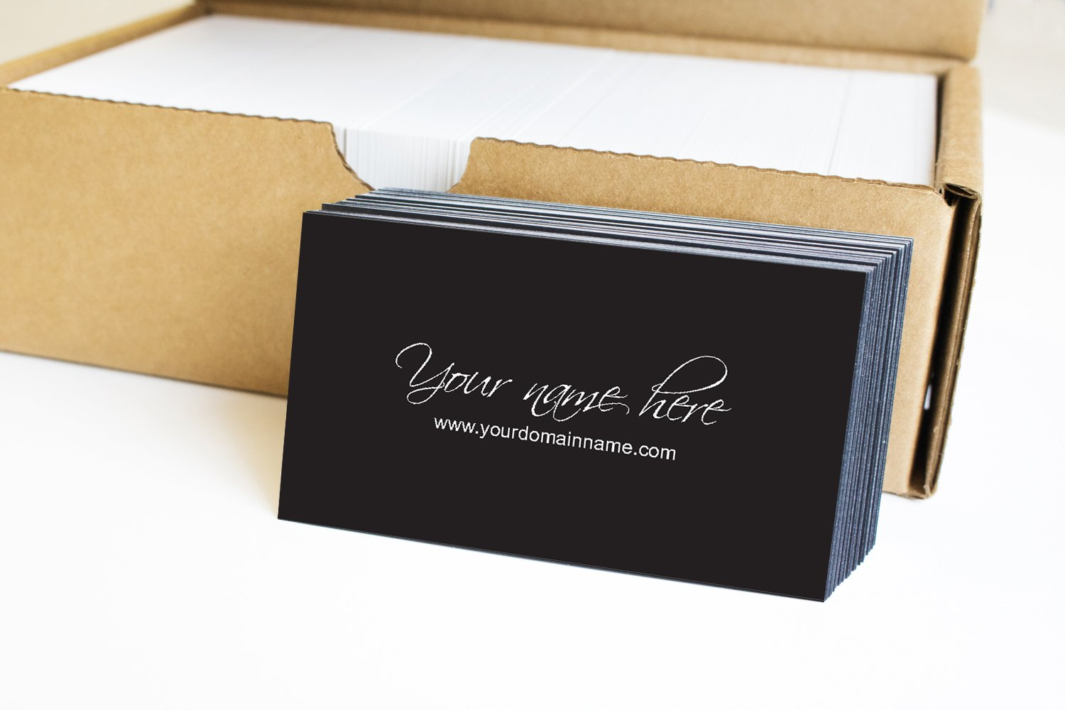 impactonlineprinting Simple Premium Business Cards 500 Full color - Script-Black front-White back (129 lbs. 350gsm-Thick paper)