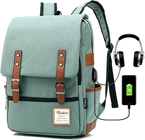 Amazon.com: Vintage Laptop Backpack Women Men, School College Backpack USB Charging Port & Headphone Jack, Fashion Backpack Fits 15.6 inch Notebook - Green-Function Update: Computers & Accessories