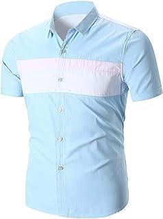 Chemises Homme Chemises BoutonnéEs Chemises Bureau Ete Splice Chemise à Manches Courtes pour Hommes HCFKJ - MS