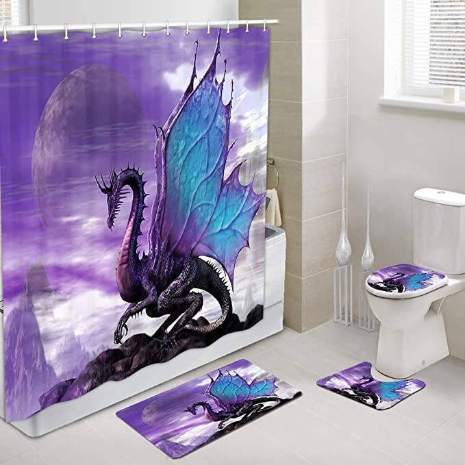 Animated Two-Dragon Shower Curtain Waterproof Toilet Mat Rug Set Baths Decors