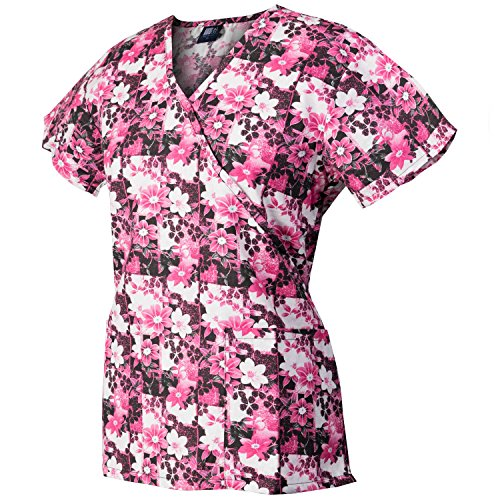 Medgear Womens Fashion Scrubs Top, Mock-Wrap With Back Ties 109P-FPGO