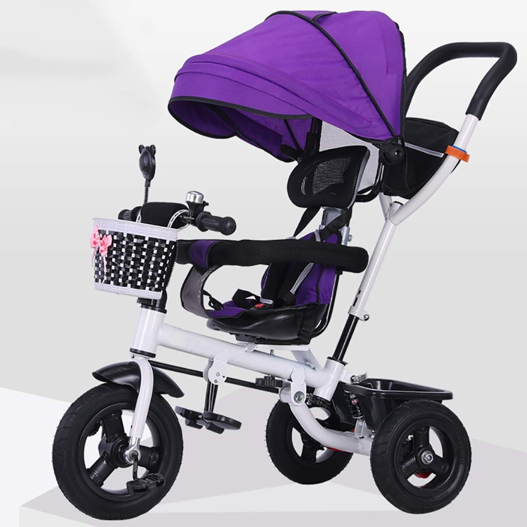 Purple NBgy Tricycle, Portable And Easy To Fold Multi-function 4-in-1 Tricycle With redating Seat, 1-6 Year Old Baby Outdoor Tricycle, 3 colors, (100-105) X76x60cm (color   Purple)