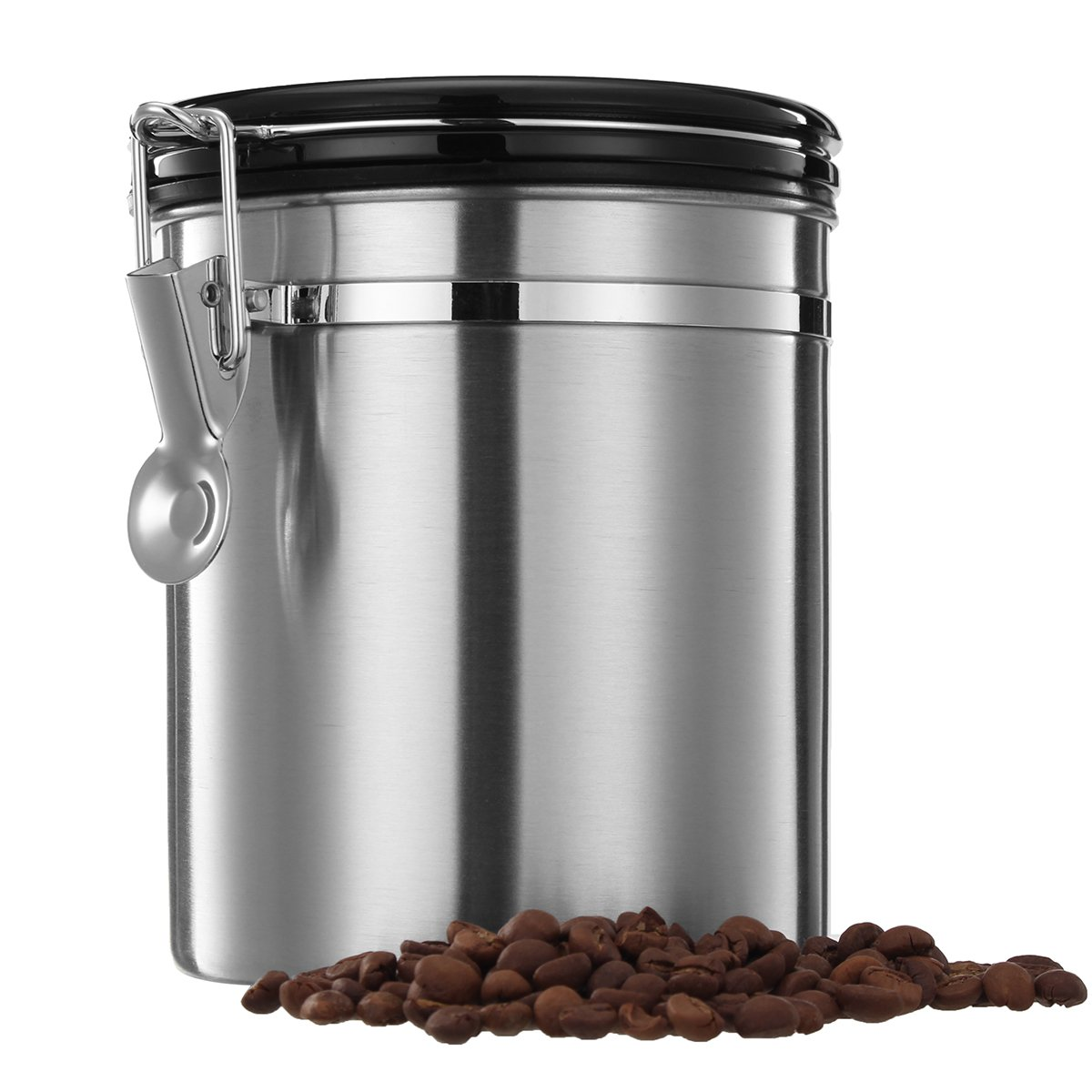 Vivona Hardware & Accessories 1.5L Silver Stainless Steel Sealed Coffee Bean Tea Storage Canister Kitchen Storage Container