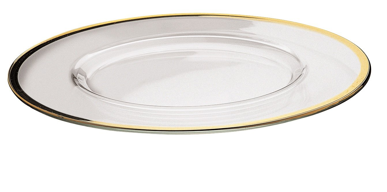 Majestic Gifts European Glass Charger Plates with Gold Rim (Set of 2), 12.5