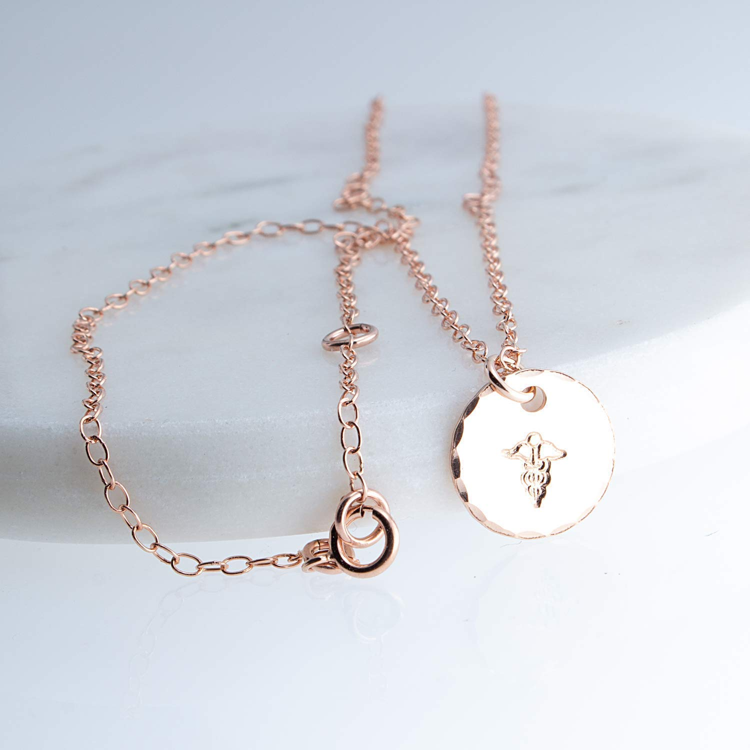Medical Caduceus Rose Gold filled Round Disc Component Necklace with 17 Inches Chain