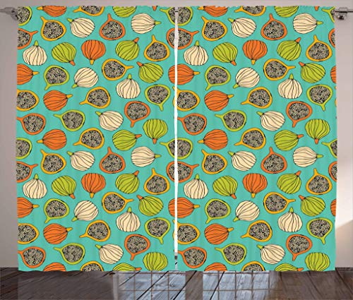 """Price comparison product image Lunarable Fig Curtains,  Whole and Halved Fruits Vegetarian Healthy Design Colorful Retro Summer Plant Pattern,  Living Room Bedroom Window Drapes 2 Panel Set,  108"""" X 84"""",  Multicolor"""