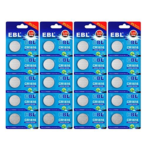 EBL 20Pcs CR1616 3 Volt Lithium Zero Mercury Button Cell -