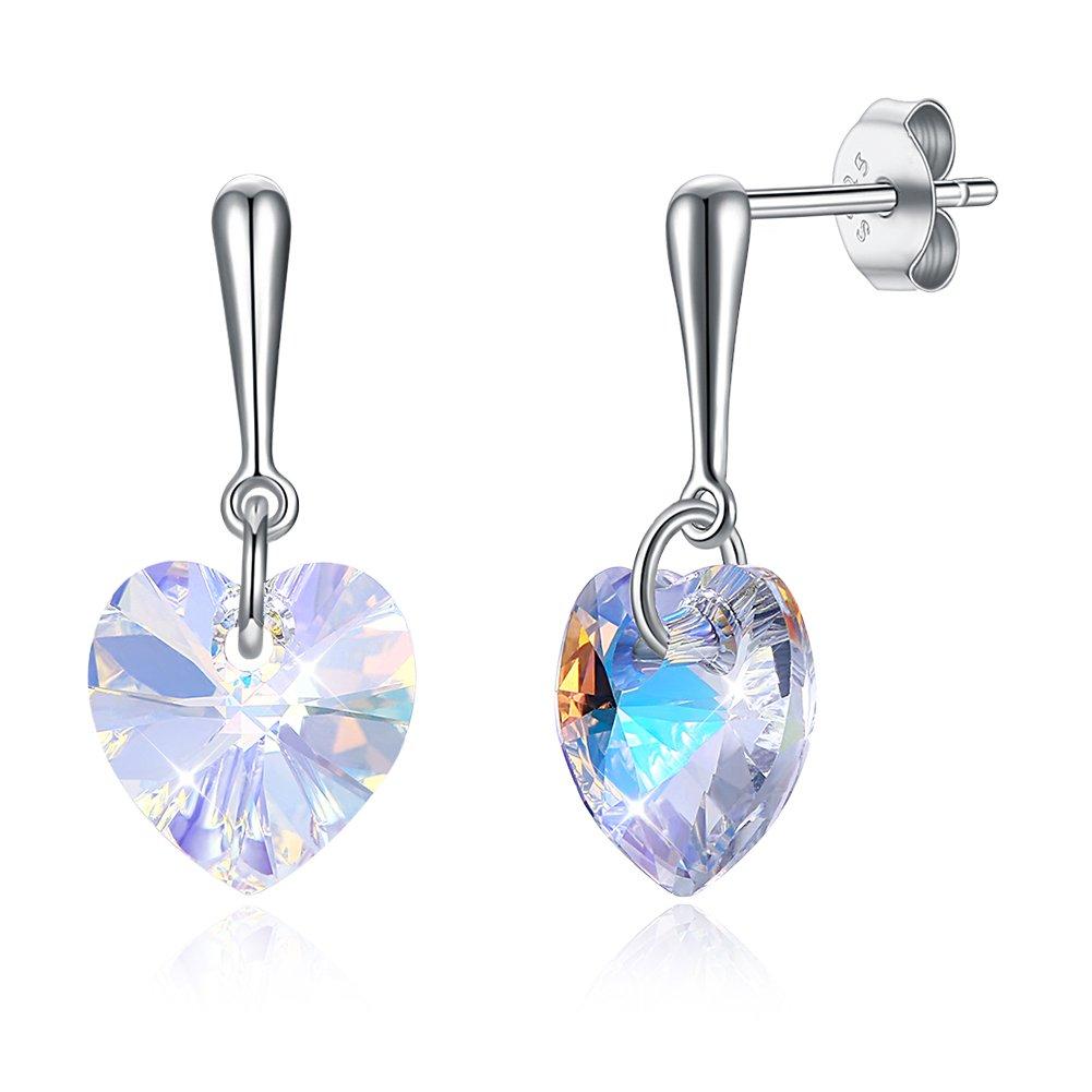 Swarovski Earrings Crystals Sterling Silver Changeable Colored Heart Shaped Earrings for Women Girls