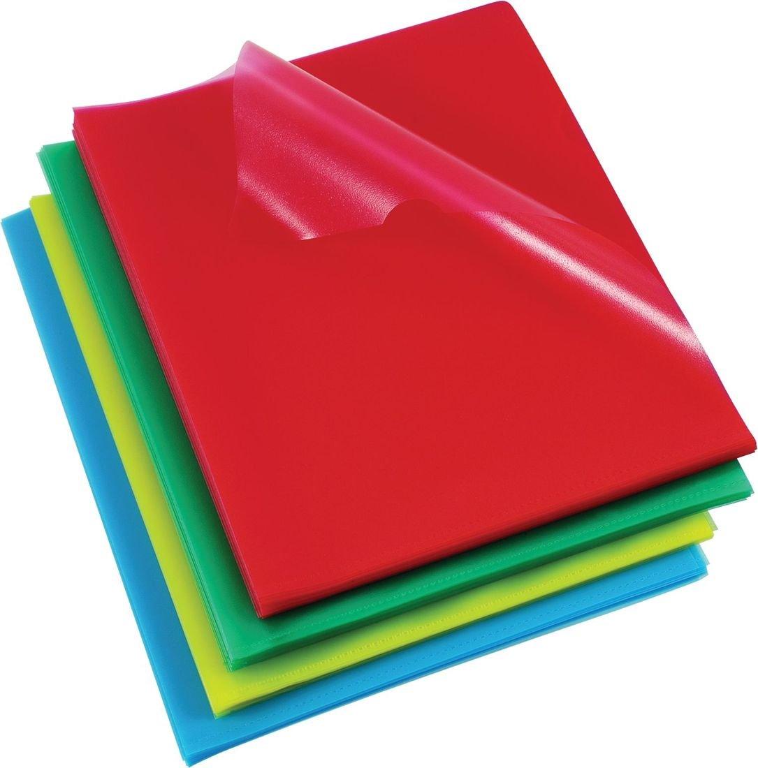 Rexel Sichthülle (Polypropylen dokumentenecht mit Prägung, A4) 100 Stück farblich sortiert