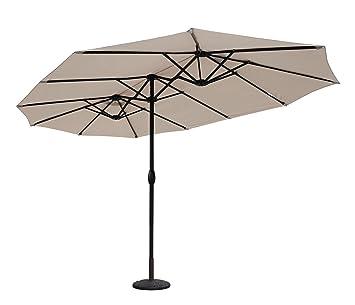 sekey aluminio sombrilla parasol de doble juego para terraza jardn playa piscina patio dimetro