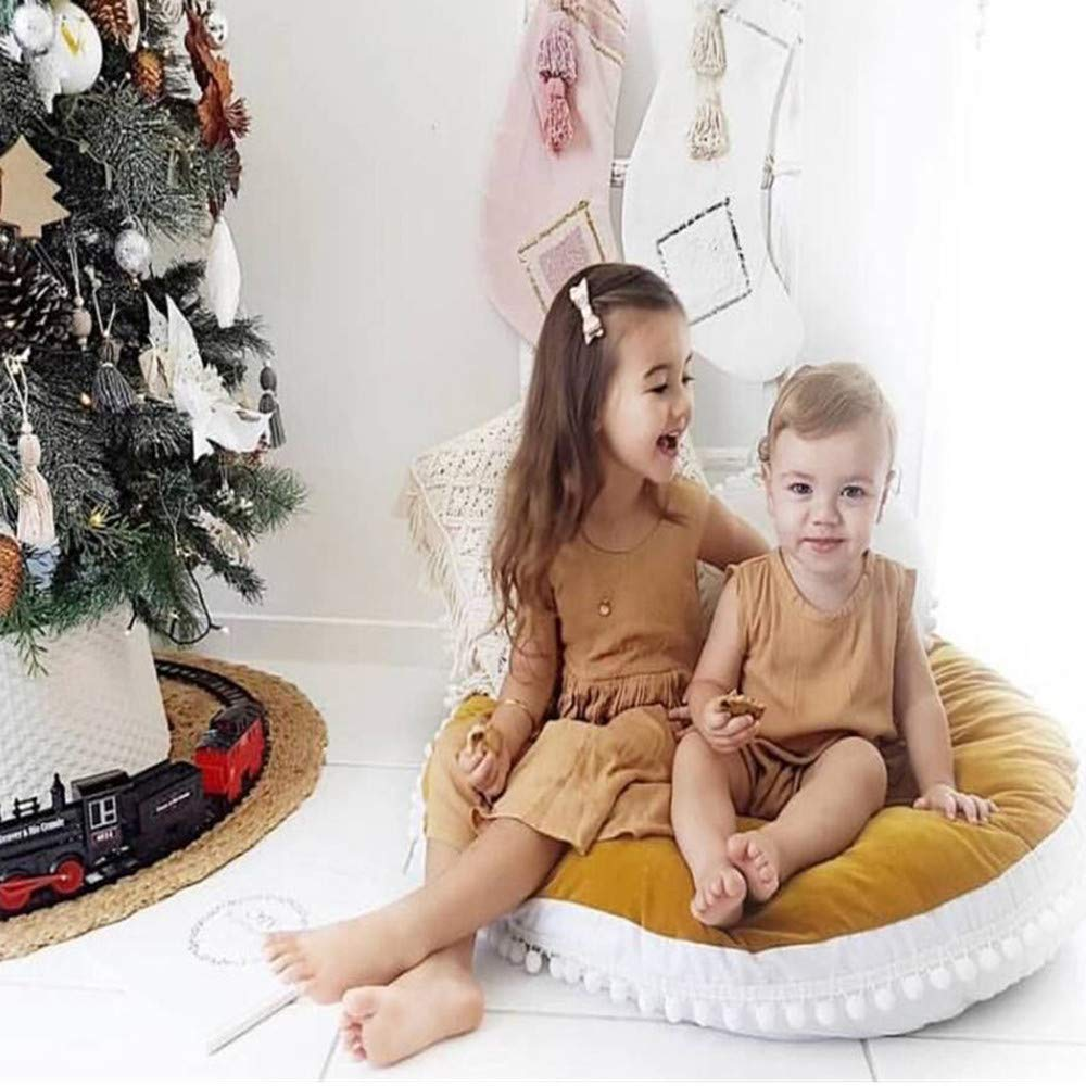 Abreeze Baby Thickened Round Play Pad Crawling Mat Crawl Cushion with Little Balls Air-Conditioned Rug Bed Valance Decoration for Kids Children Toddlers Bedroom-Brown